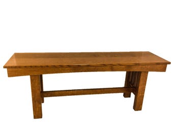 Entryway Bench White Oak Mission Style Amish Dutch Handcrafted Quarter Sawn 3 ft. or 4 ft.