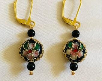 Noir Cloisonné Earrings