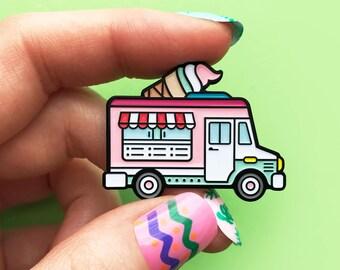 Ice cream truck pink, enamel pin