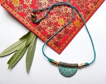 Ormolu antique blue metal Choker necklace