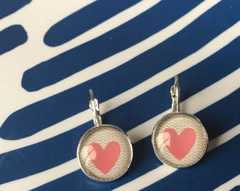 Handmade heart Valentine glass cabochon earrings- 16mm