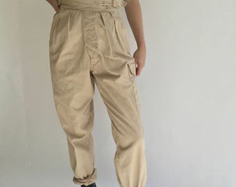 Vintage 26-30 High Waist Pleat Khaki Twill Chinos | High Rise Pleat front Side buckle Army british Military Safari gurkha Pant