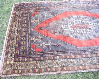 Vintage Bohemian Multi Colored Decorative Oushak Rug, Oushak Saloon Rugs , Handmade Old Turkish Wool Rug, 5'3 x 9'1, Vintage Rugs,