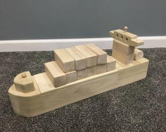 Handmade wooden cargo container ship