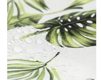monstera waterproof fabric/botanical waterproof fabric/tropical leaf leaves summer fabric/herb plant fabric/shower curtain cactus waterproof