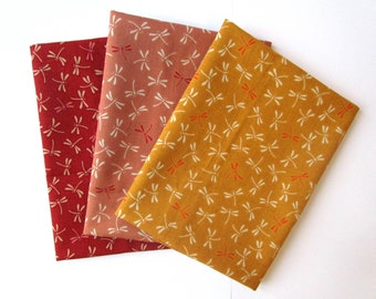 Set of 3 coupons 45 x 35 cm - dragonflies - red/pink/yellow