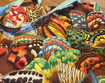 """Butterflies on Fabric Bag with Message """"Free Spirit"""""""