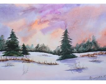 1+1=3! Digital Print, Watercolor painting, watercolor landscape painting, Original art, Winter landscape, Watercolor original painting