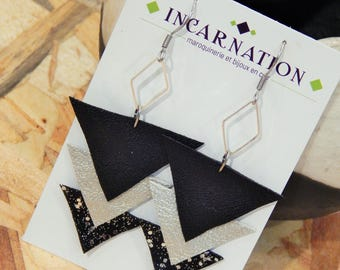 Earrings leather triangles and glitter