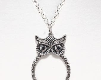 Whoooooo's There?~Sterling Silver Filled Chain Necklace~Silver Owl Necklace~Owl Pendant Necklace~Magnifying Glass~Gift for Owl Lovers~Owls