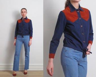 70s Denim Corduroy Western Shirt / XS