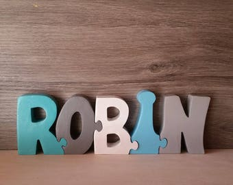 Personalized wooden puzzle toy Robin name letters