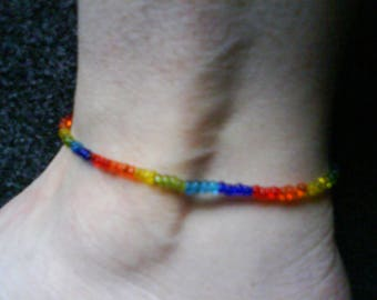 LoliRosa Chakra Translucent Glass Seed Bead Stretch Anklet