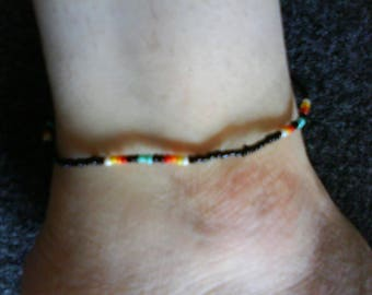 LoliRosa Native American Style Glass Seed Bead Stretch Anklet (Black)