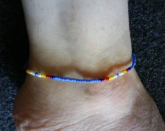 LoliRosa Native American Style Glass Seed Bead Stretch Anklet (Blue)