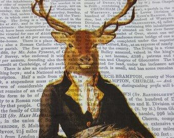 4 single paper napkin serviette for decoupage craft scrapbooking decopatch art collage, Majestic Deer Lord, 33 x 33 cm , 3 ply Vintage New