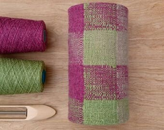 Handwoven lamp shade - pink, green and oatmeal - Scottish wool - one of a kind - table lamp - pendant lamp - cylinder - unique design