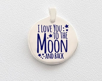 """925 sterling silver pendant without chain """"I love you to the moon and back"""""""