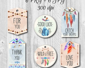6 Boho style printable tags, Favors tags, Thank you labels, Instant download, DIY, Boho style labels, Holiday tags, Gift tags
