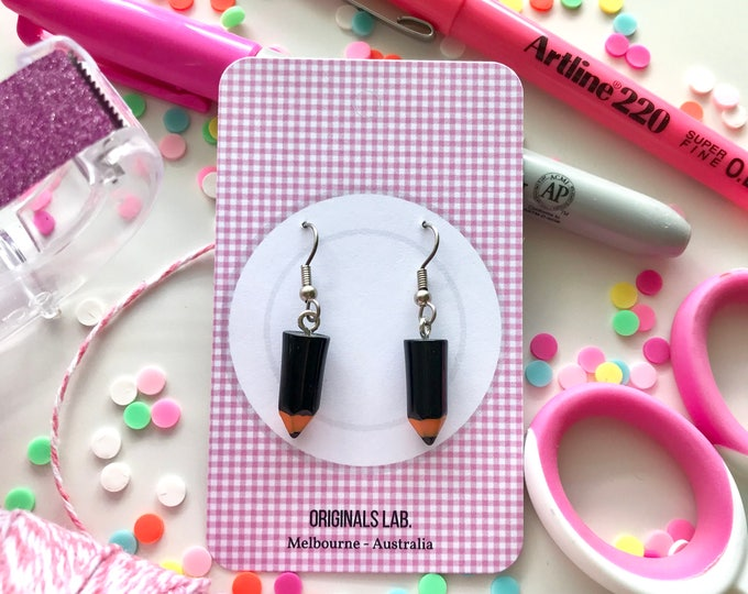 Cute Pencil Earrings with Surgical Stainless Steel Hooks - In a range of lovely pastel colours!