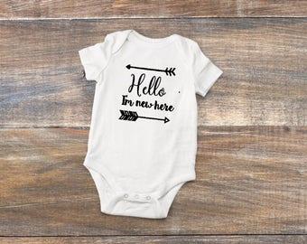 Hello I'm New Here Onesie Body Suit Baby Shower Gift