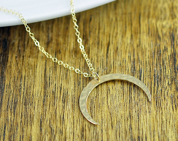 Large Hammered Crescent Moon Pendant, Boho Jewelry, Boho Necklace, Moon Necklace, Crescent Moon Necklace, Moon Pendant, Gift for Her