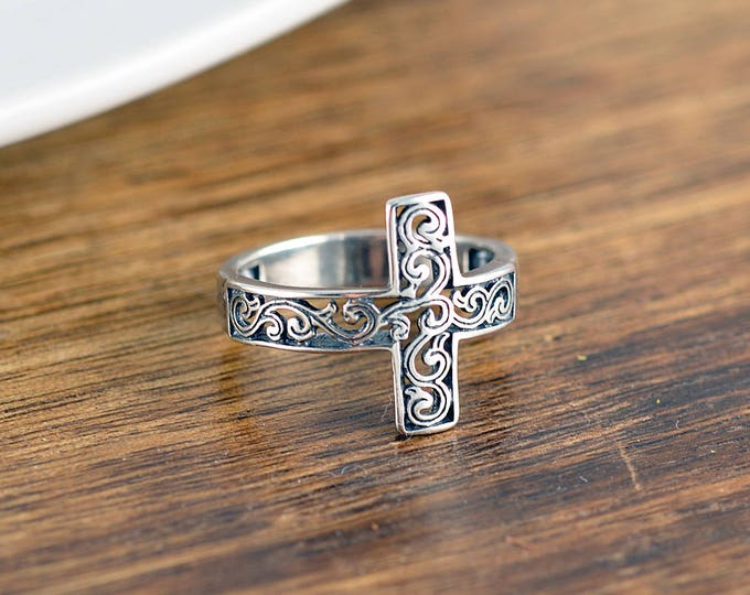 Sterling Silver Filigree Cross Ring, Sideways Cross Ring, Silver Cross Ring, Woman's Cross Ring, Christian Ring, Woman's Silver Ring