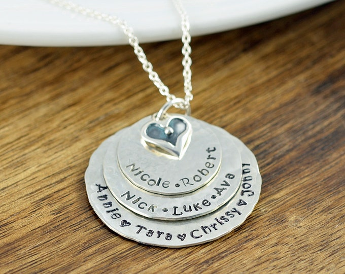 Personalized Silver Necklace, Mother's Necklace, Kids Name Necklace, Mothers Day Gift, Grandmother Necklace, Grandmother Gift, Grandma Gift