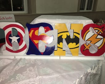 Superhero Painted Wooden Letters