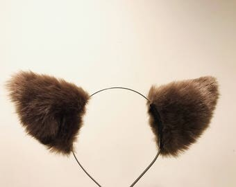 Cat ears Kitty Headwear Brown Pink Furry Animal Headband Costume Bow Bells