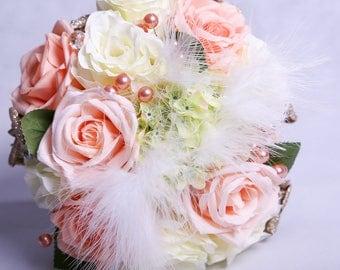 Peach and Cream Wedding Bouquet