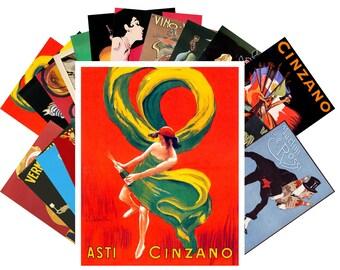 Postcard Pack (24 cards) Chinzano Martini Vermouth Vintage Art Deco Alcohol Ads CC1020