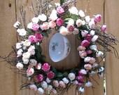 Spring Wreath - Summer Wreath - Tea Roses - Pink and Cream Tea Roses - Mini Birdcage - Tea Cup