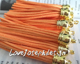 gold caps 20pieces 90mm salmon suede leather gold plastic ear tassel charms