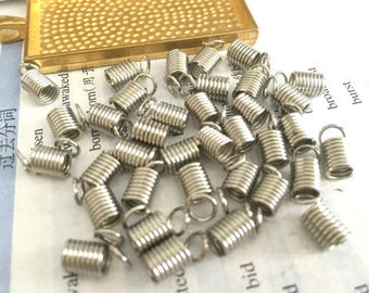 wholesale 100 Pieces /Lot silver plated 5mm coil cord end crimp fasteners,spring coil cord end connectors
