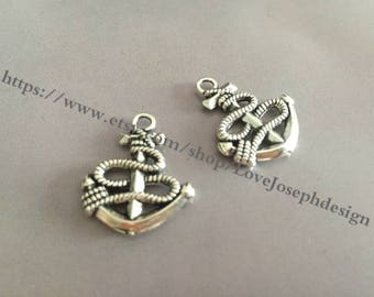 wholesale 100 Pieces /Lot Antique Silver Plated 18mmx25mm Anchor Charms(#041)