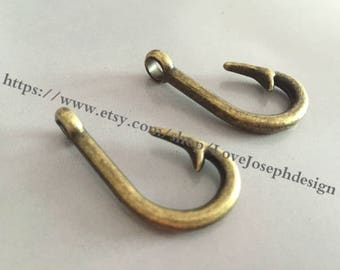 wholesale 50 Pieces /Lot Antique Bronze Plated 19mmx38mm heavy fish hook Charms(#042)