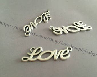 wholesale 50 Pieces /Lot Antique Silver Plated 10mmx33mm Love Charm Link Connector (#098)