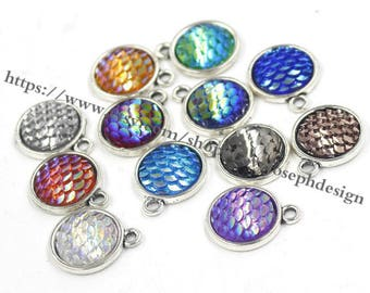 Wholesale 100 Pieces /Lot Antique Silver Plated 12mm(one side) cabochon bezel trays charms with 100pieces matching 12mm fish scale(#0444)