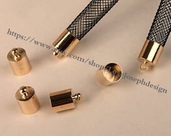 wholesale 100pieces KC gold metal 7mmx11mm(inner hole 6.5mm)tassel caps/end caps/cord caps/cord findings(0481)