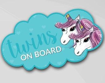"""Baby on board car sticker """"Twins on board"""", Unicorn, binoculars, girls, English, artist Scott, sticky vinyl lettering"""