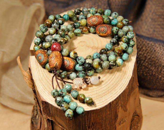 Turquoise Necklace Mala Boho Style. Yoga. Meditation. Ideas for her. Boho Jewelry. Bohemian Necklace. Tassel Necklace