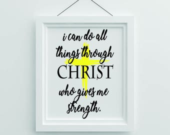 I can do all things through Christ who gives me strength wall art Kids Baby Room Decor Wall Art Printable Download