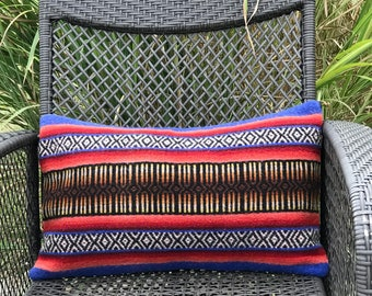 "Lumbar pillow cover made from vintage wool camp blanket, 26""x16"""