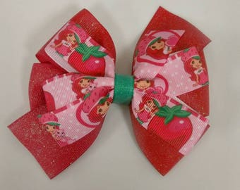 Strawberry shortcake hair bow, Character hair bow, toddler hair bow, party favor, birthday bow, baby headband, baby hair bow, strawberry bow