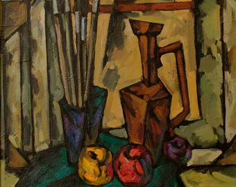 Great vintage 1980 CUBISM still life with fruits apples OIL painting Ukraine ORIGINAL oil on canvas ukrainian art