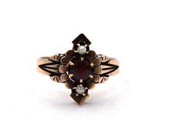Gold Victorian Garnet & Pearl Ring