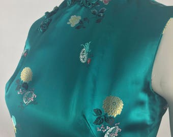 Vintage Cheongsam-Qipao Full Length Teal Dress with Floral Print /Made In Hong Kong Expressly For The Compass Rose/Size 8