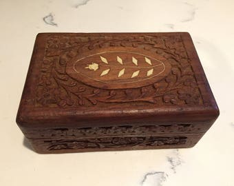 Vintage Hand Carved Wood Jewelry Box