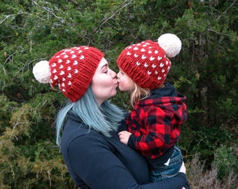 Custom matching heart hats,custom mommy and me beanie,mom and me tiny heart beanie, matching heart hat, wool mom and me hat, bright toques